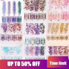 hot deal buy nail art glitter 4boxes/set (10ml/box) 3d nail art glitter mix 10 colors nail glitter powder sequins powder for nail art glitter