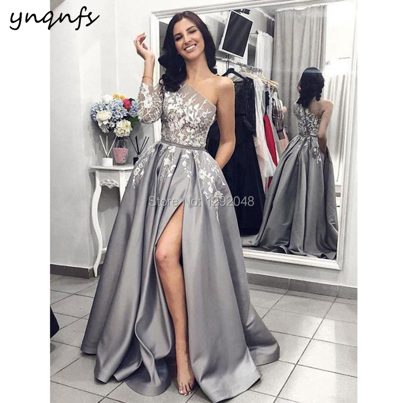 YNQNFS P42 Sexy High Slit Lace Appliques One Shoulder Gray Satin One Long Sleeve   Prom     Dresses   2019