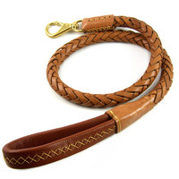 High Quality Genuine Leather Pet Dog Leash Luxury Strong Puppy Collar Leash Lead For Large Dogs Pet Supplies Accessories