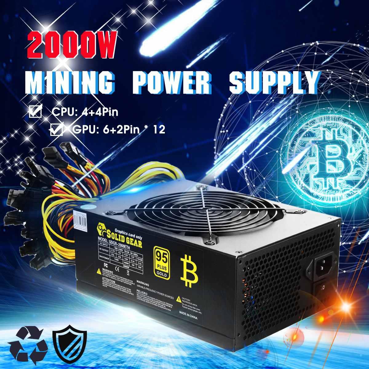 2000 W PLUS or alimentation ETH BTC extraction ATX SATA IDE prise en charge 8 GPU Ethereum PC alimentation pour ordinateur Machine de Minner