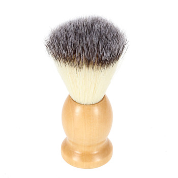 Brush with Wood Handle for Beard Professional Male Razor Facial Brush Face Cleaning Tool Yellow