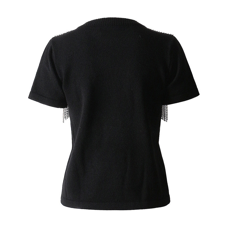 Misto Primavera Nuova 2019 Di shirt Modo Girocollo Allentato Marea Split Nero Manica Black Jo654 Corta eam Donne Strass Delle T Estate 5EPA5q