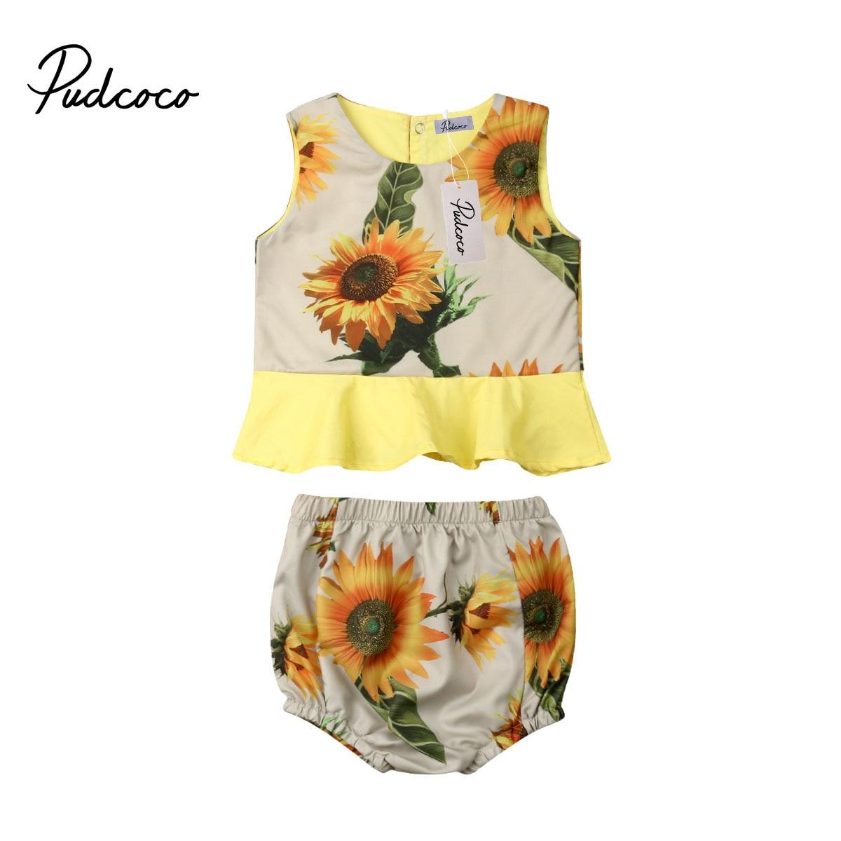 2 Pcs Neue Mode Baby Mädchen Kleidung Set 2019 Sommer Oansatz Sunflower Rüschen T-shirt Tops + Floral Shorts Pumphose 0 -18 M