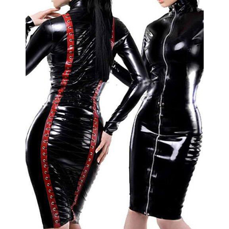 Drop Shipping Halloween Uniform Wet Patent Leather Women Sexy Costume Dress Restraint Tight Skirt Clubsuit Party  Costumes