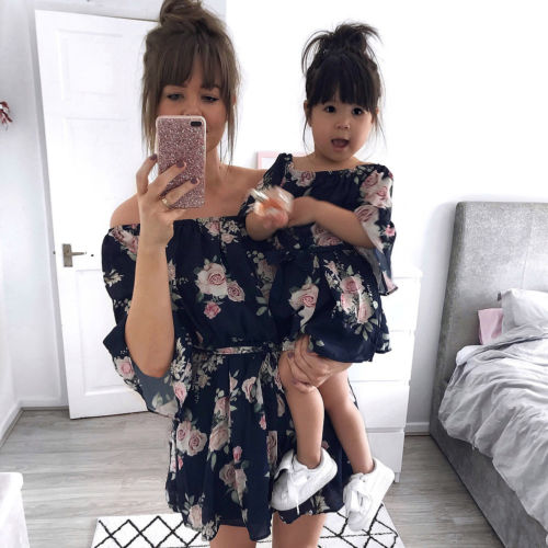 Summer Flower Family Clothes Mother Daughter Women Baby Girl Short Sleeve Floral Fashion Chiffon Dress For Mommy And Me Clothea