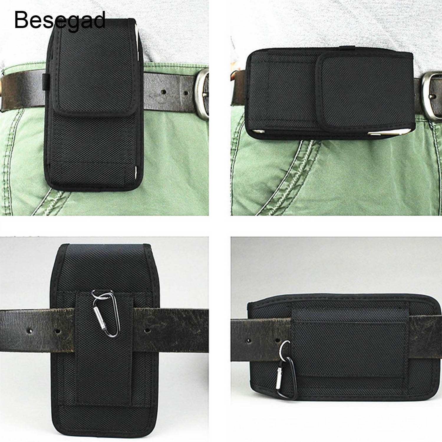 Besegad Outdoor Sport Mobile Phone Holster Belt Waist Bag Case Pocket Gadget Pouch for iPhone 8 7 6 Plus Samsung Huawei Xiaomi