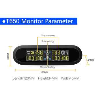 Universal LCD TPMS USB Tire Pressure Monitoringal Alarm System 6 External Sensors Rechargeable Tyre Pressure for VW Toyota SUV