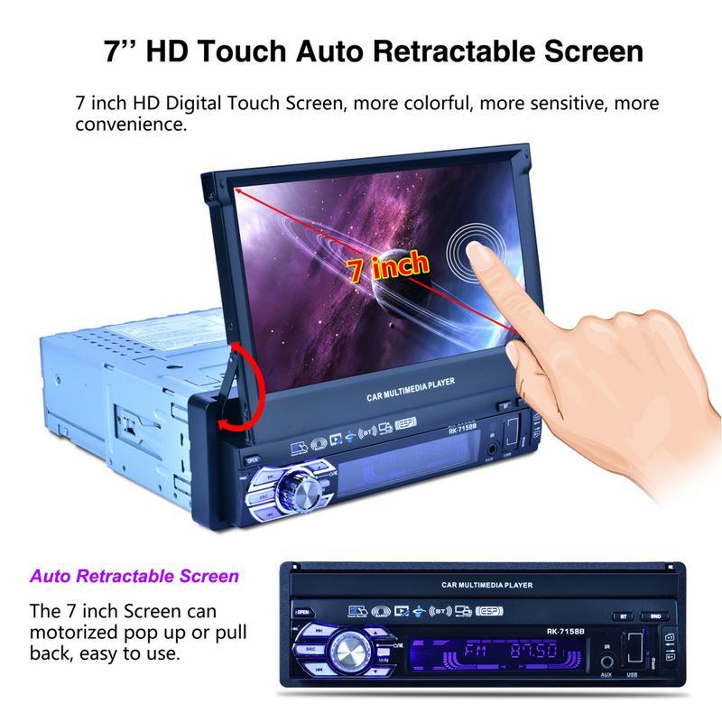 Nouveau 7-Pouces Voiture Écran AutomatiRetractable Mp5Mp4Mp3 lumières colorées Suis Fm Avant et Arrière Marque Bluetooth Radio Médias Voiture Radios