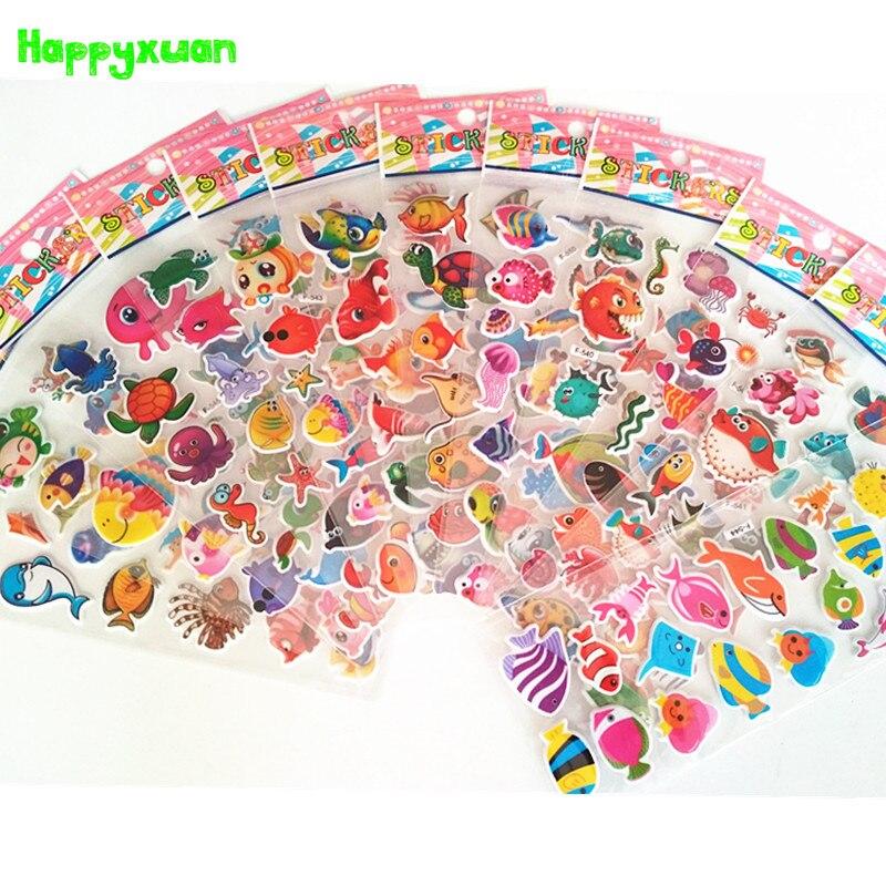 Happyxuan 12 Sheets Kids Bubble Puffy Stickers Cartoon Ocean Fish Scrapbook Photo Album Decoration Reward For School Teacher Toy