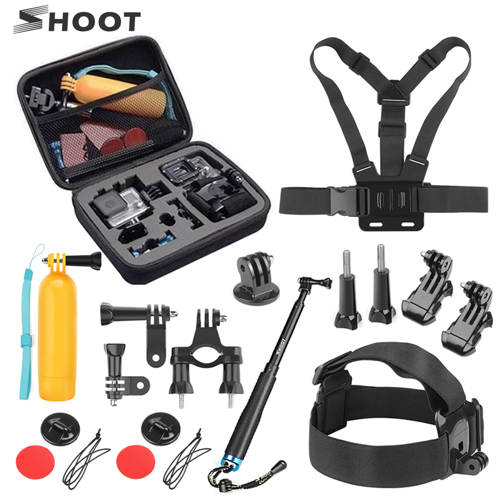 SHOOT Action Camera Accessories Set for GoPro Hero 8 7 6 5 Black 4 Session Xiaomi Yi 4K Sjcam Sj4000 Chest Head Strap Mount Kits