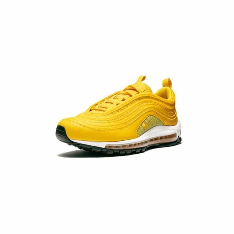 """Nike w air max 97 """"mostarda"""" nova chegada original palma cheia almofada de ar tênis para mulher luz amarela #921733-701"""