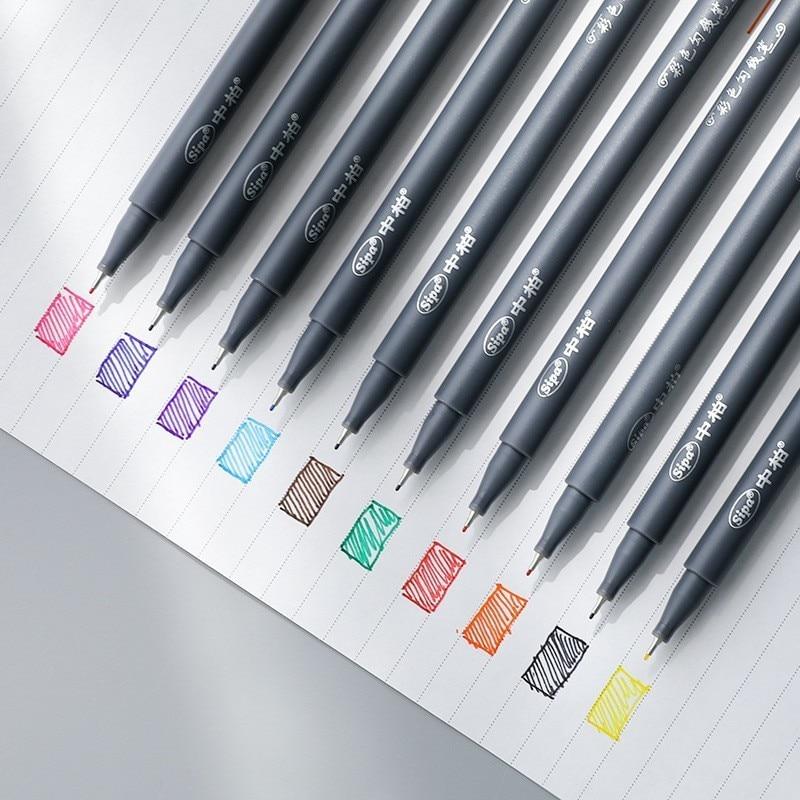10pcs Fineliner Color Pen Set 0.38mm Fine Line Drawing Porous Fine Point Markers