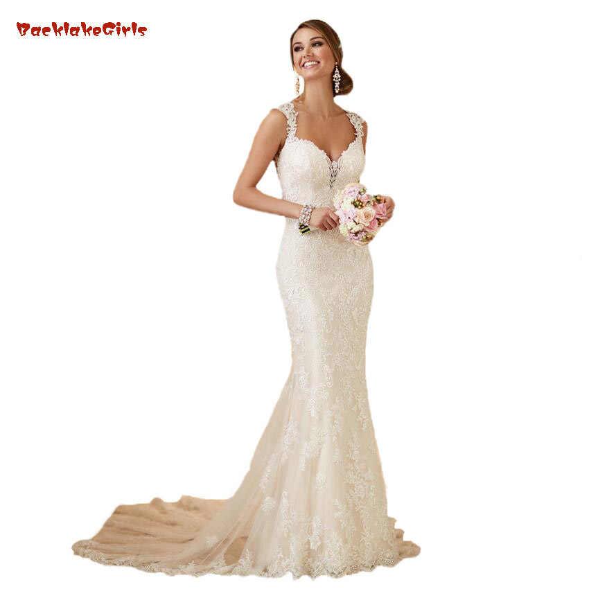 68b4d1e87049 Mermaid Wedding Dresses Open Back Sexy Chpel Train New Coming Lace Vestido  De Novia Bridal Gown