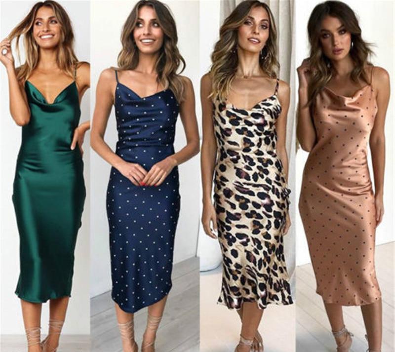Women Lady Casual Homewear Summer Long Silk Dress Bodycon Solid Spaghetti Straps Slip Sundress Casual Babydoll Clothing