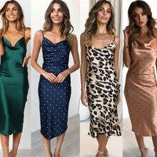 Mujer Casual Homewear de verano largo seda vestido Bodycon de correas espaguetis Slip vestido Casual Babydoll ropa