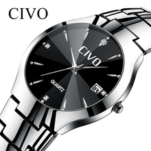 CIVO Couple Watches Waterproof Calendar Luxury Top Brand Watch Mens Stainless Steel Strap Sports Wristwatch Men Women Clock
