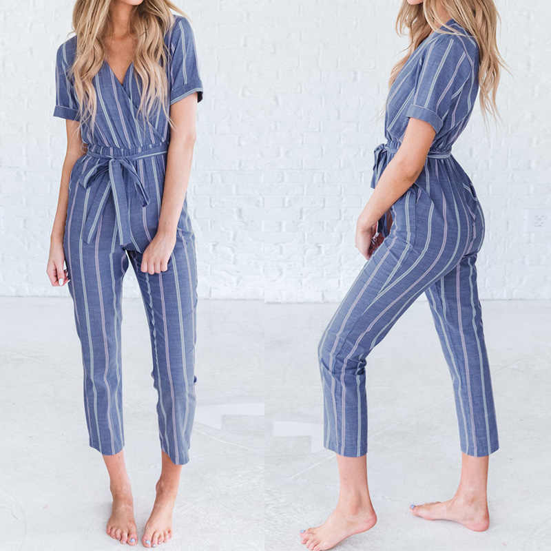 bbd2ba567e7 ZANZEA Women Casual Rompers Belt Ladies Striped Jumpsuits Female V Neck  Playsuits Pant Elegant Work Overalls
