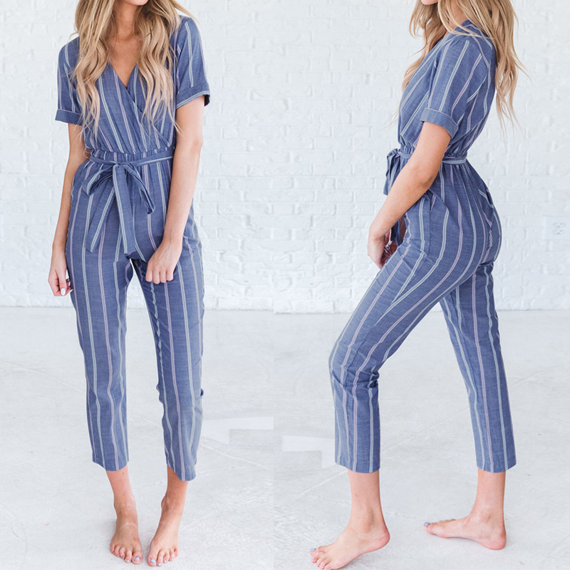 ZANZEA Women Casual Rompers Belt Ladies Striped   Jumpsuits   Female V Neck Playsuits Pant Elegant Work Overalls Plus Size Pantalon