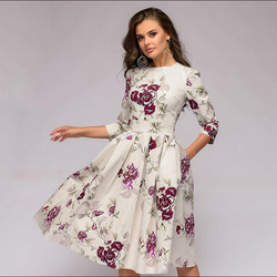 OLN 2019 moda kobiety Plus rozmiar elegancka Sukienka z długim rękawem, dekolt w kwiaty, sukienki damskie Sukienka Femme Vintage sukienki Vestido 5