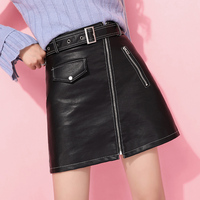 Loyalget Hot Selling Sexy Women Bandage PU Leather Mini Skirts Zipper Style High Waist Sexy Skirts Clothes For Ladies