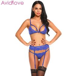 Avidlove, женское сексуальное нижнее белье, нижнее белье с вышивкой, Дамское сексуальное нижнее белье, набор, с вырезами, кружевное, горячее, Эро... 2