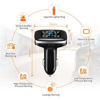 Car TPMS Cigarette Lighter Plug USB Tire Pressure Monitoring System 4 External Sensor LCD Display Tyre Detector for Honda Toyota