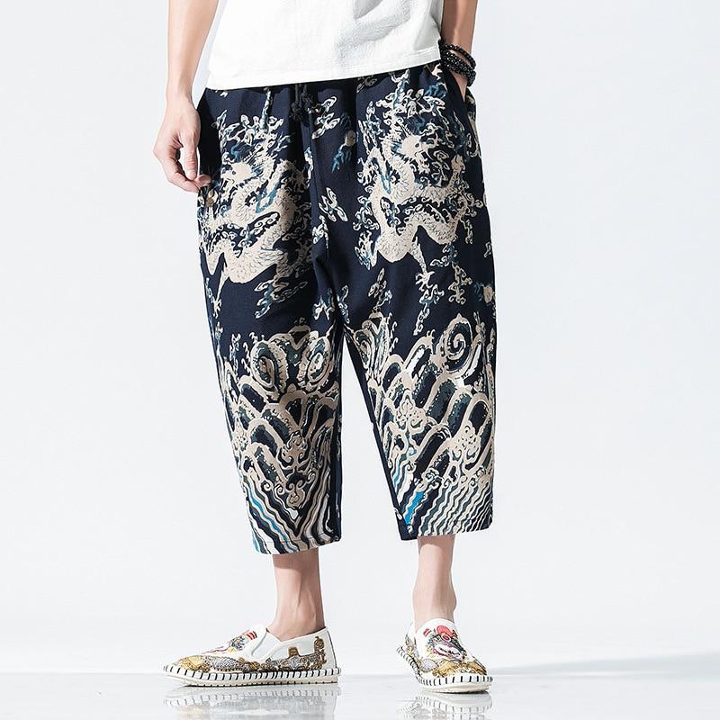 #4608 2019 Sommer Chinesischen Stil Drachen Und Floral Bedruckte Leinen Hosen Männer Vintage Plus Größe 5xl Mode Streetwear Hosen Retro Warm Und Winddicht