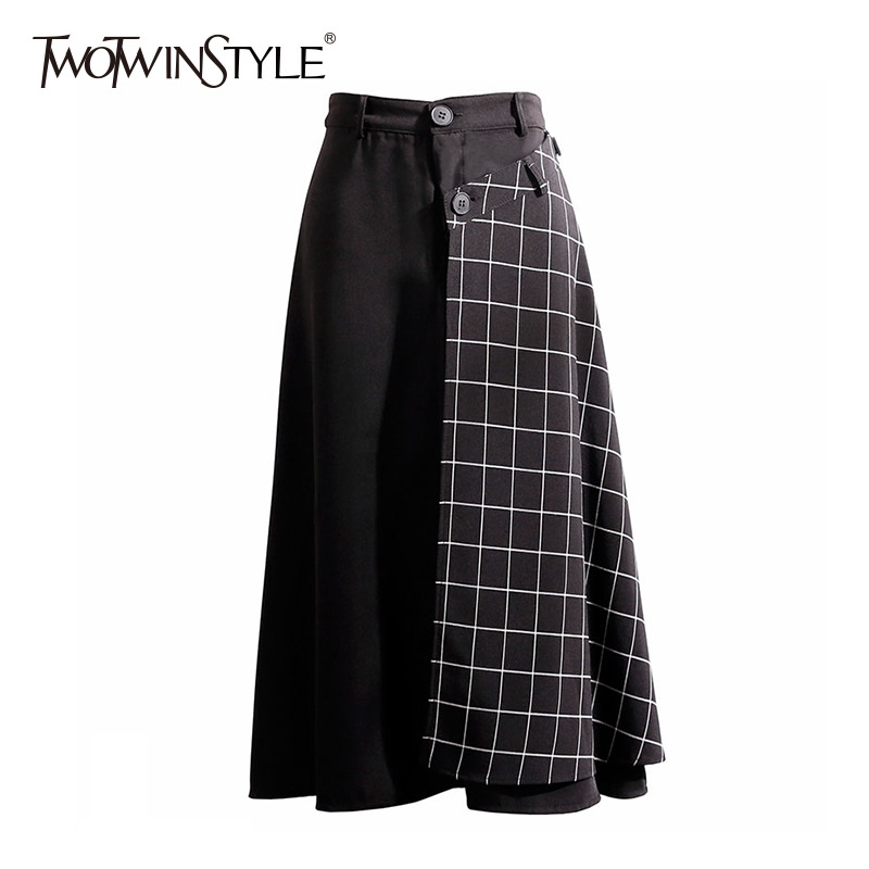 TWOTWINSTYLE Plaid Patchwork Detachable Skirts Female High Waist Hot Colors Womens Skirt Vintage Fashion Plus Thick 2020 Spring