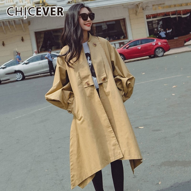 CHICEVER Autumn Women's Windbreaker Stand Collar Lantern Sleeve High Waist Lace Up   Trench   Female Coat Korean Fashion Clothing