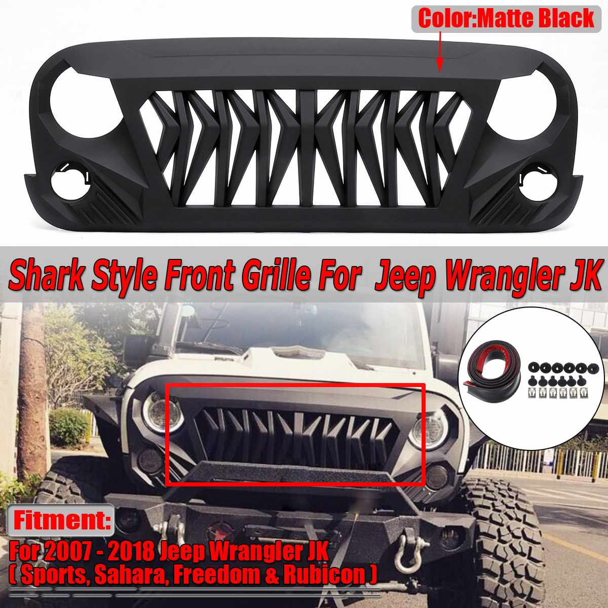 Racing Grille Cover Decoration Car Front Grill Grille For Jeep For Wrangler JK Rubicon Sahara Sports Freedom 2007-2018Racing Grille Cover Decoration Car Front Grill Grille For Jeep For Wrangler JK Rubicon Sahara Sports Freedom 2007-2018