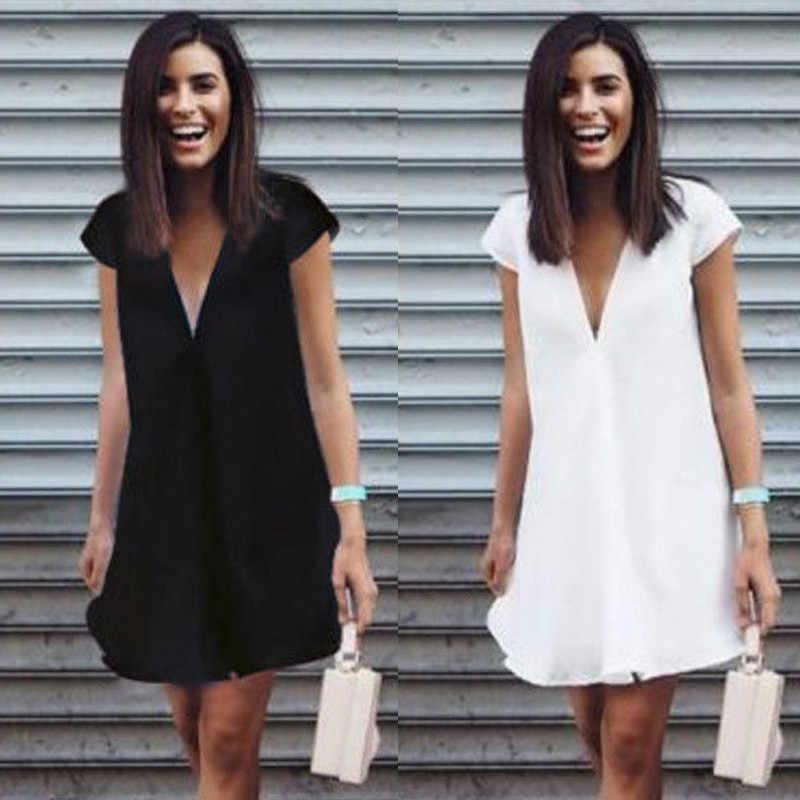 Плюс Размер короткий рукав повседневное свободное платье 2019 женские летние v-образным вырезом черные мини платья