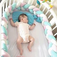 250cm Baby Bed Bumper Baby Crib Protector Four Ply Knot Handmade Long Knotted Braid Weaving Plush Infant Knot Pillow Room Decor