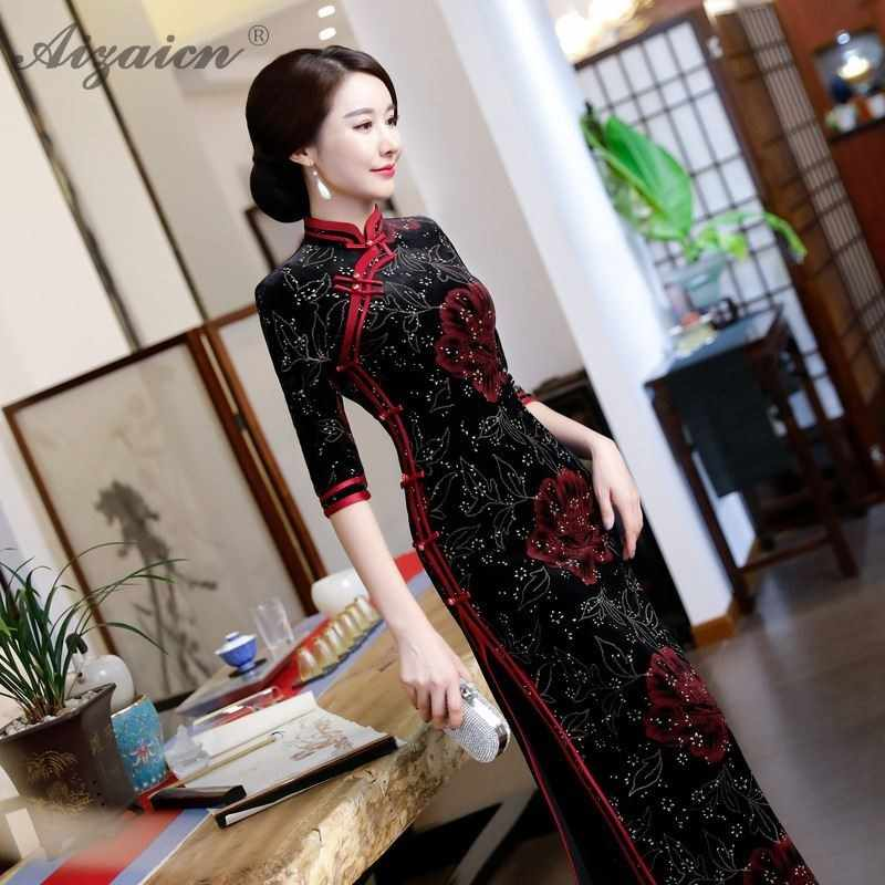 18d1c8728d6f ... Silk Velvet Cheongsam Mother-in-law Wedding Mom Qipao Chinese  Traditional Dress Evening Gown ...