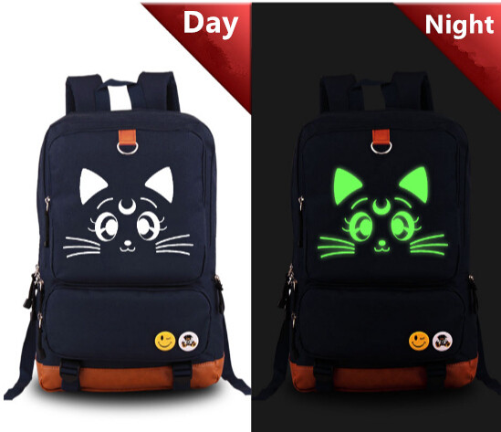 Sailor Moon Luna Cat Printed Backpack School Bag Children Student Boys Girls