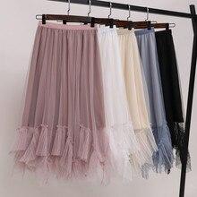 Тюлевые юбки для женщин размера плюс M-4XL эластичная плиссированная юбка средней длины с высокой талией трапециевидная Асимметричная Тюлевая юбка-пачка Rok весна лето
