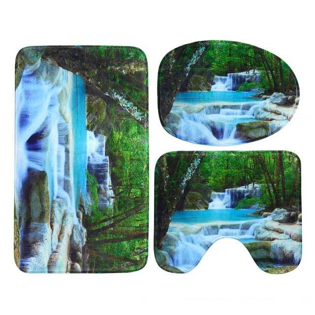 3D Waterfall Scenery Waterproof Shower Curtain 6