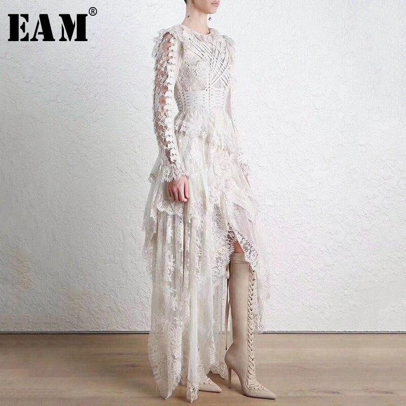 [EAM] Новинка 2019 года весна зима кружево O воротник длинный рукав асимметричный подол вышивка личность платье для женщин мода прилив OB510