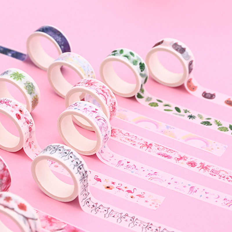 1PC Cute Cat Washi Tape Decorative Adhesive Tape Kawaii Flamingo Masking Tape For Kids DIY Scrapbooking Diary Photos Album