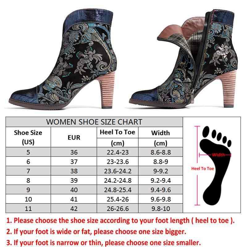 Socofy Retro พิมพ์แกะรองเท้าผู้หญิงหนังรองเท้าผู้หญิงรองเท้าผู้หญิง VINTAGE บล็อกรองเท้าส้นสูง 8 ซม.ข้อเท้า BootsZapatos De mujer