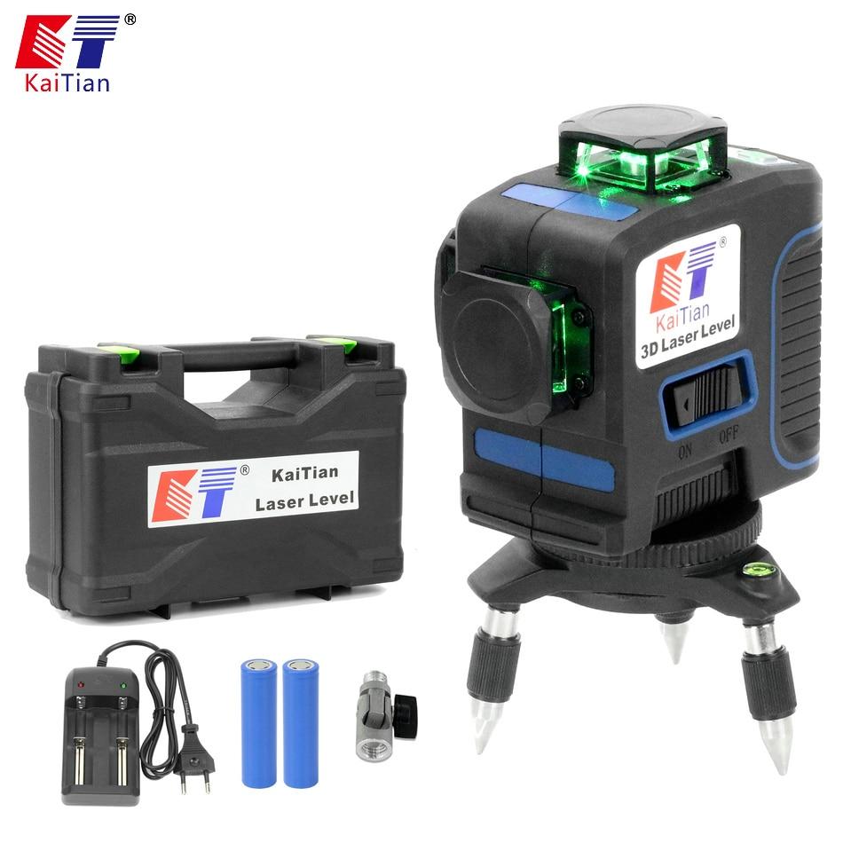 Nível Do Laser Kaitian 3D 12 Verde Linhas de Auto-Nivelamento Cruz Linha Vertical Horizontal 360 Nivel Rotativo 532nm Lasers Nível feixe Ferramenta