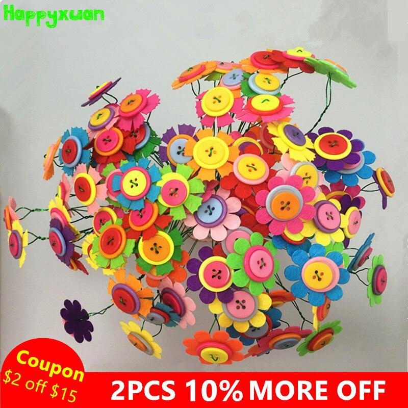 Happyxuan 2 Sets Diy Felt Button Flower Bouquet Kindergarten Craft Kits Kids Educative Toy Handmade Thanks Giving Day Gift Girls
