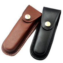 fold Knife first layer of leather Cowhide Straight knife case sheath cover black/ brown