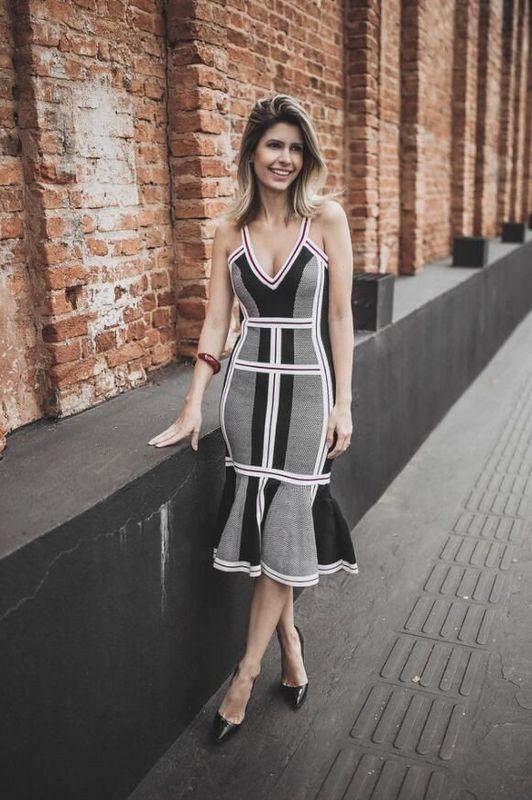 Femmes gris noir géométrique col en v Slip mi-mollet rayonne Bandage robe Top qualité dame Cocktail partie élégante robe