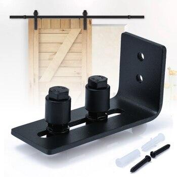 Mayitr Bottom Floor Wall Guide Sliding Barn Door Guide Double Roller wheel Adjustable With Screws For Door Hardware floor