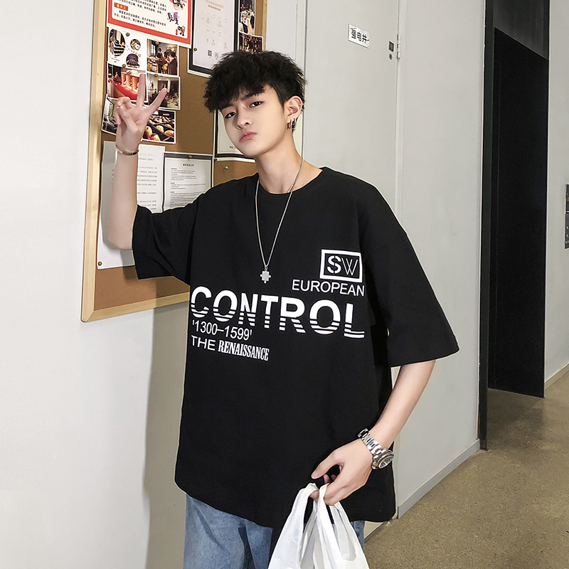Men 39 s T shirt 19 Summer New Loose Round Neck Pullover Wild Letters Printing Short Sleeve Personality Youth Casual Men 39 s Clothing in T Shirts from Men 39 s Clothing