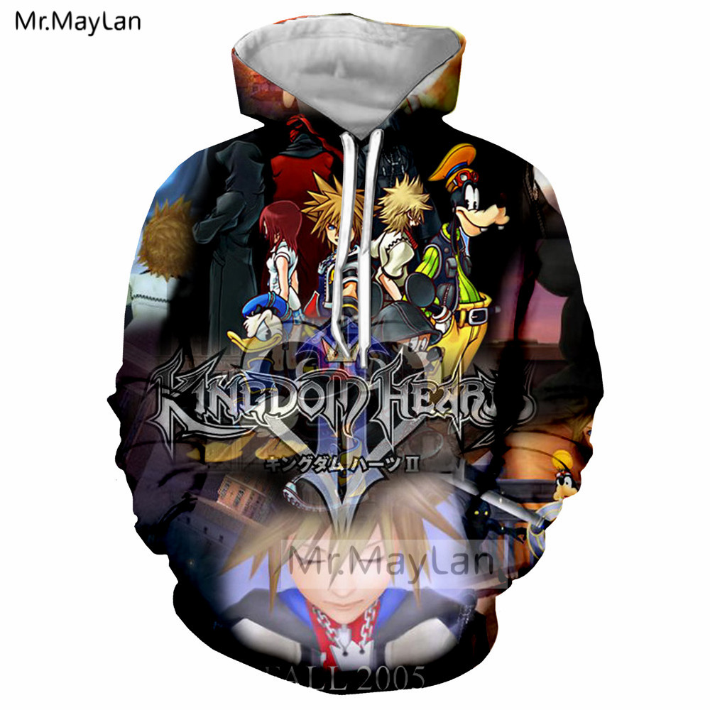 3D Print Game Kingdom Hearts Jacket Unisex Women men Hipster Pullover Hoodie Boys Hip Hop Punk Blue Sweatshirt Oversized Clothes in Hoodies amp Sweatshirts from Women 39 s Clothing