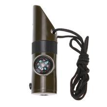 7 в 1 Многофункциональный уличный аварийный свисток комплект выживания компас светодиодный термометр фонарик комплект безопасности выживания инструмент