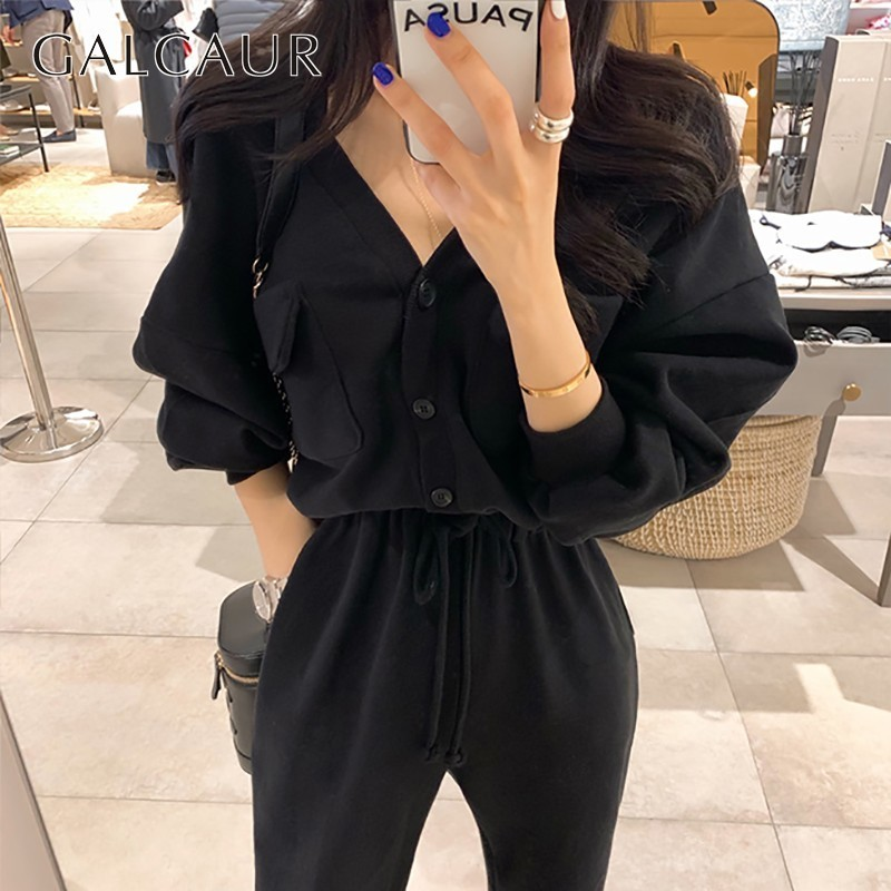 GALCAUR Casual Bandages Sport Jumpsuit Women V Neck Long Sleeve Tops Loose Pants Oversize Female Clothes Fashion 2019 Spring