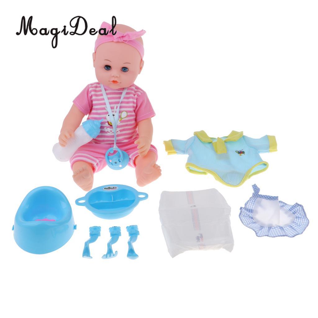 Simulation réaliste parler cri rire garçon bébé poupée jouer ensemble vaisselle et accessoires enfants semblant jouer jouets