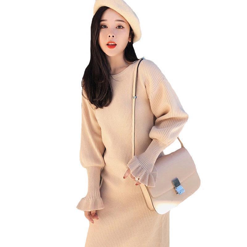 Tricot Donna Femme Manches Pull D'été Pour Automne Ete Uzun Coréenne Vêtements black Longues Hiver Beige Robe Femmes 2018 Longo 5qnZwt7Z4